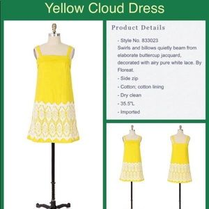 Anthropologie yellow cloud dress size 2